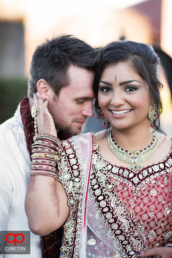 Groom and bride before their Indian wedding in Greenville,SC.
