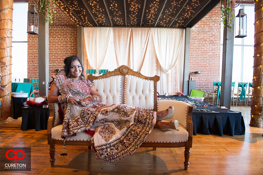 Indian bride poses inside the Loom.