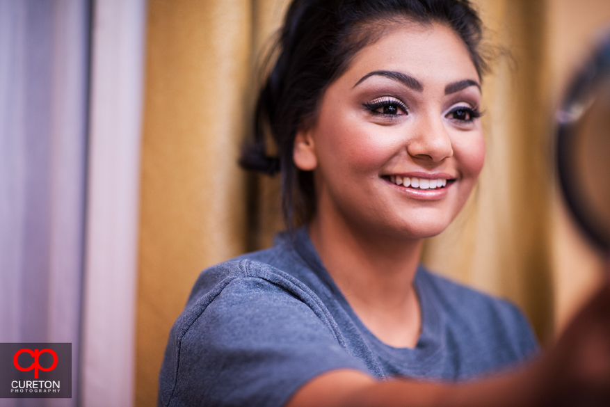 Bride gets ready before her Indian wedding in Greenville,SC.