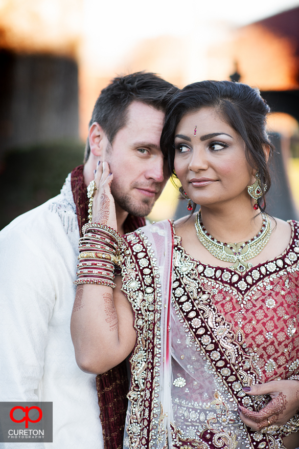 High fashion pose from a couple before their Indian wedding in Greenville,SC..