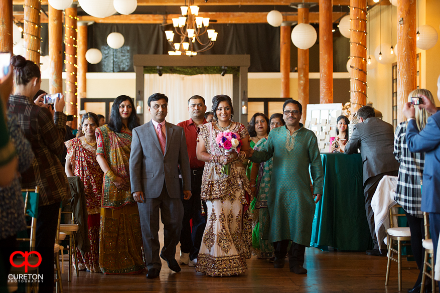 Bride makes her processional during her Indian wedding in Greenville,SC..