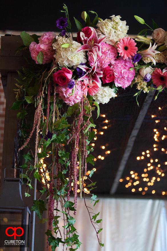 Beautiful flowers over the mandap.