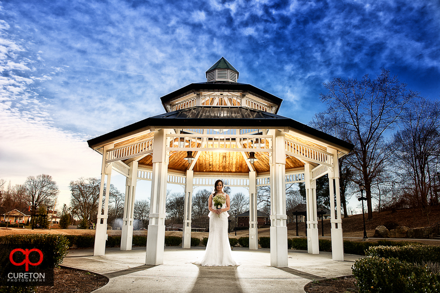 Bride with Gazebo in downtown Greer.