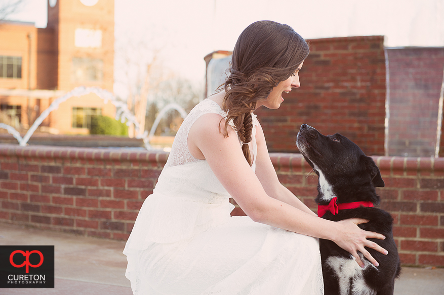 Bride and her dog.
