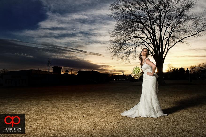 High fashion sunset bride.