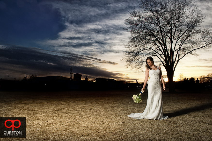 Downtown Greer sunset and bride.