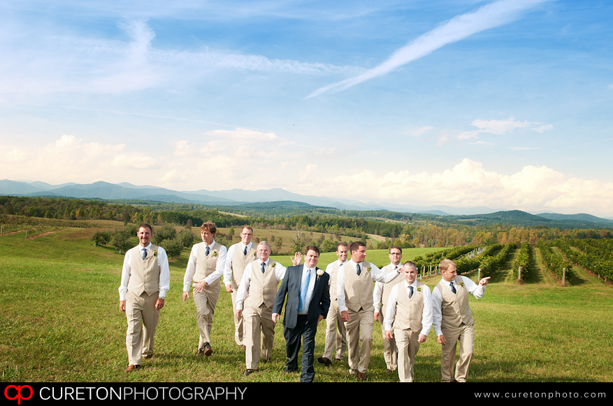 Groomsmen walking up from the vineyard with the SC mountains in the distance.
