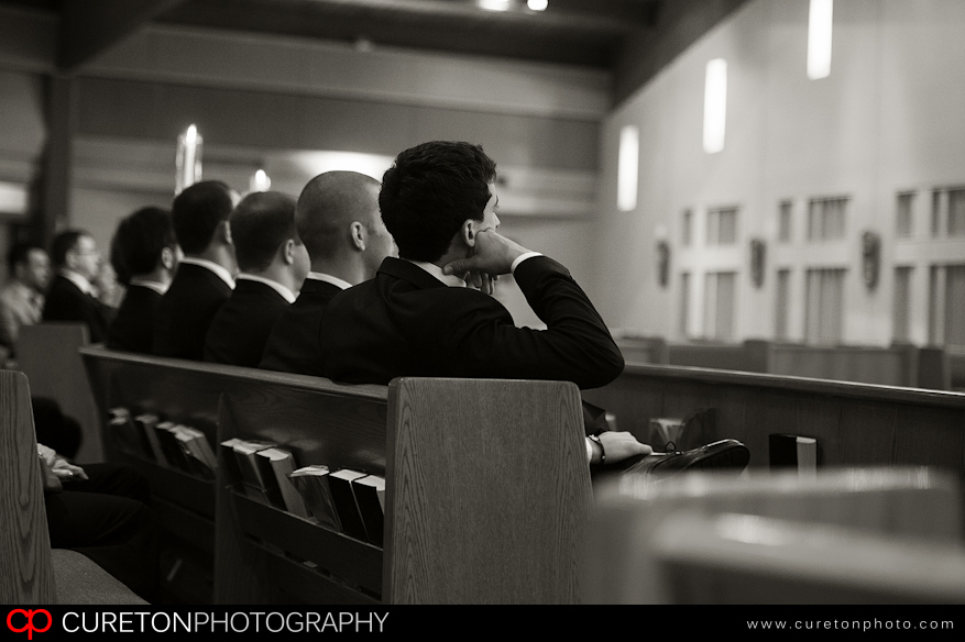 Groomsmen sitting at St Mary Magdalene