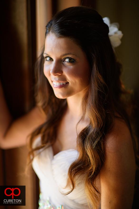 Bride in beautiful window light.