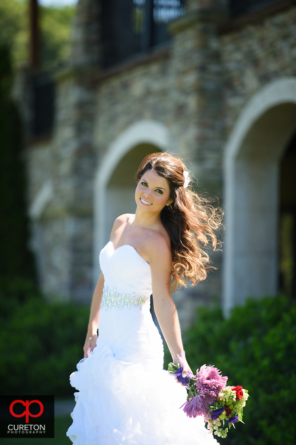 Beautiful bride in natural light during a Hendersonville, NC bridal session.