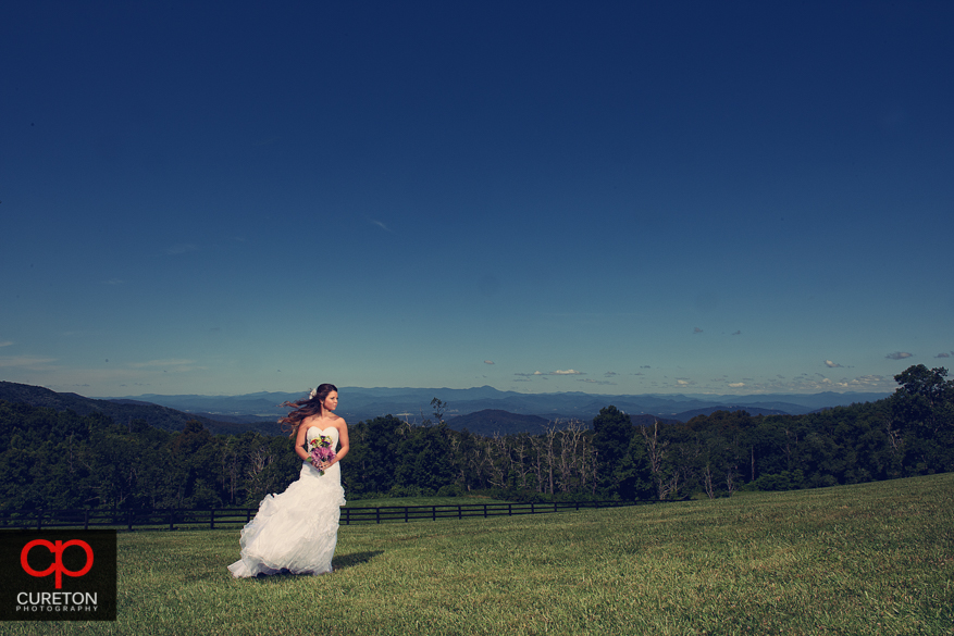 Bride with mountains behind her at a Hendersonville,NC bridal session.