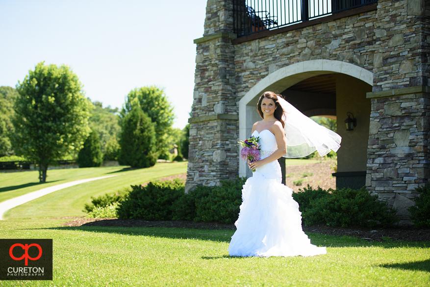 Bride with a sunlit veil.
