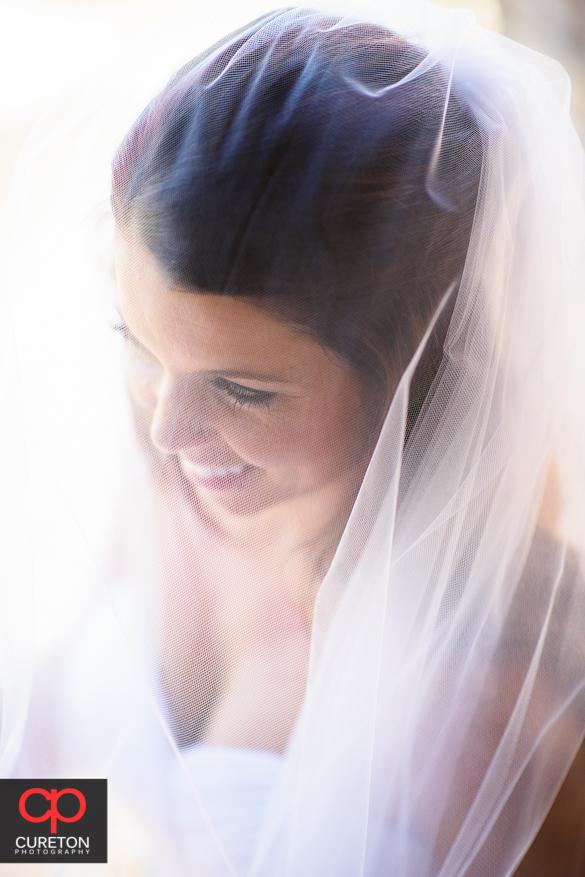 Closeup shot of a bride though her veil.
