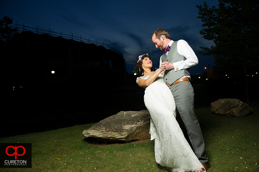 Couple dipping outside the Certus Loft in Greenville,SC.