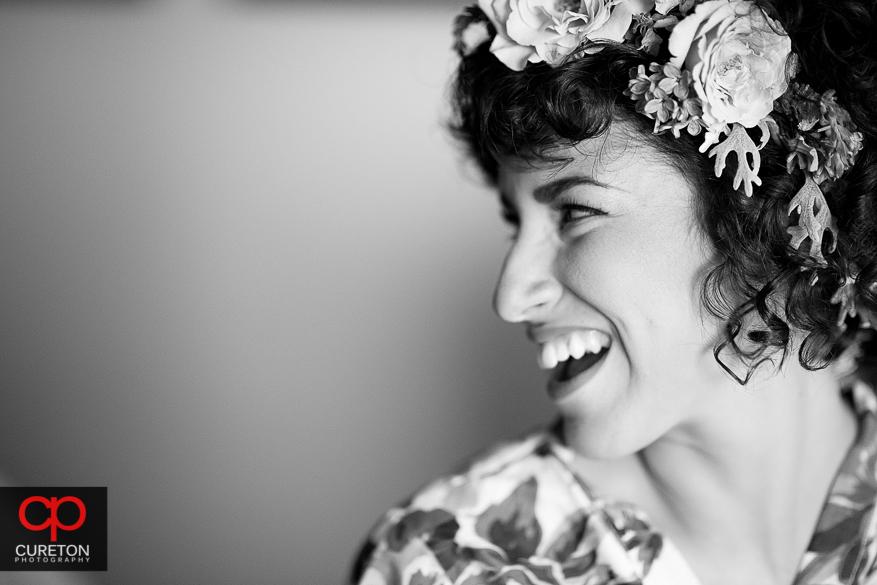 Black and White shot with pretty bride.