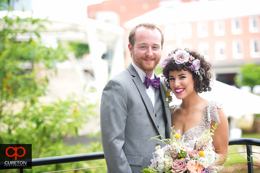 Bride and Groom after first look in downtown Greenville.