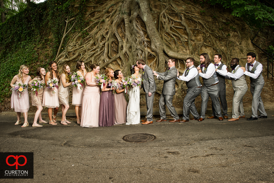 Bridal party in front of the famous tree in falls park.
