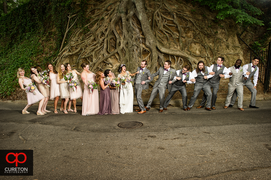 Wedding party in front of the tree in Falls Park in downtown Greenville.