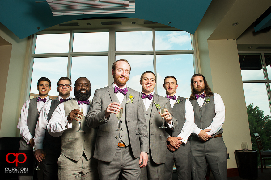 Groom and groomsmen having a drink at The Lazy Goat.