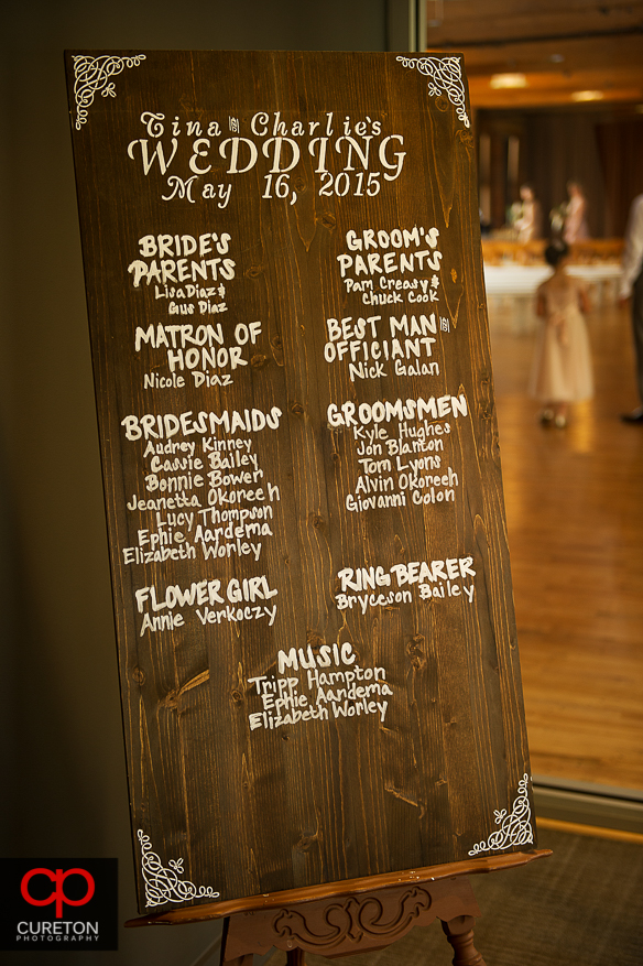 Wedding party sign.