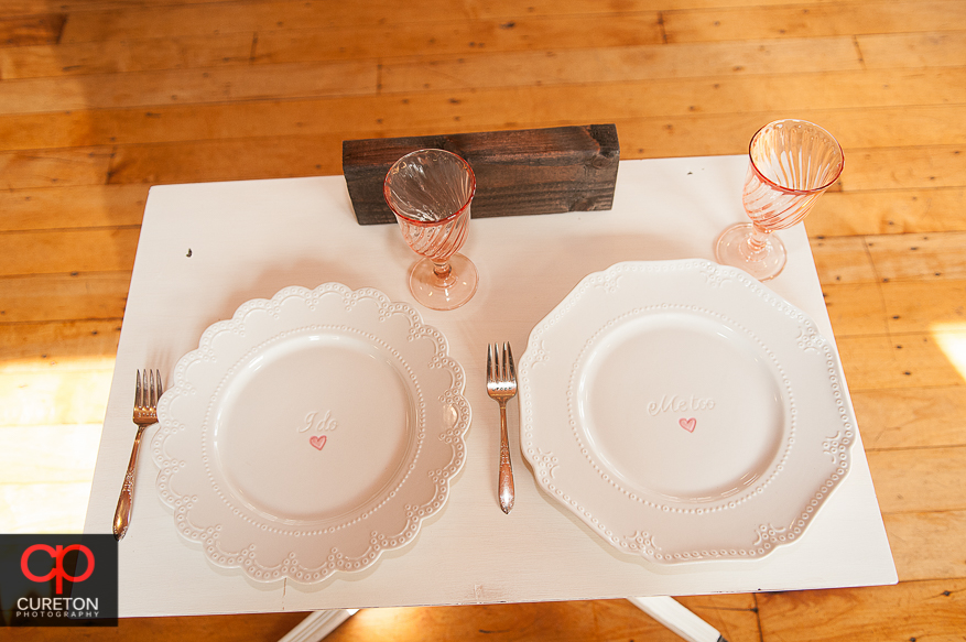 Vintage bride and Groom place settings.