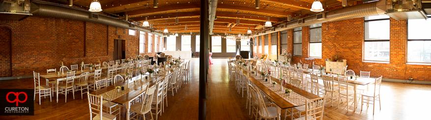 Pano of the reception decor at Huguenot Loft / Certus Loft in downtown Greenville,SC.