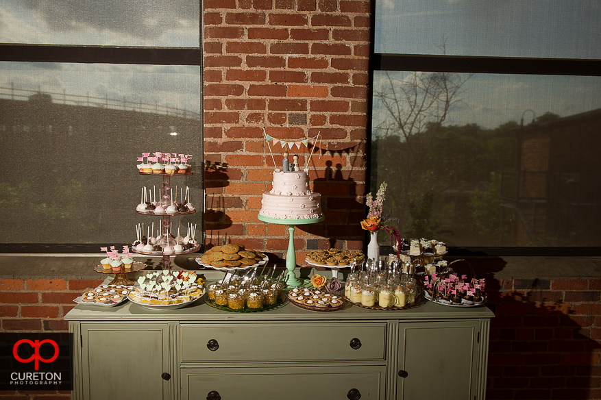 Wedding cake display from the Bakery off Augusta.