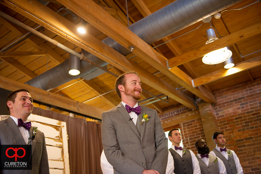 Groom first sees his bride.