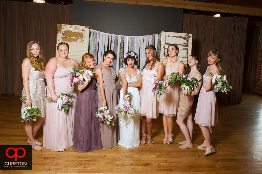 Birde and bridesmaids showing attitude.