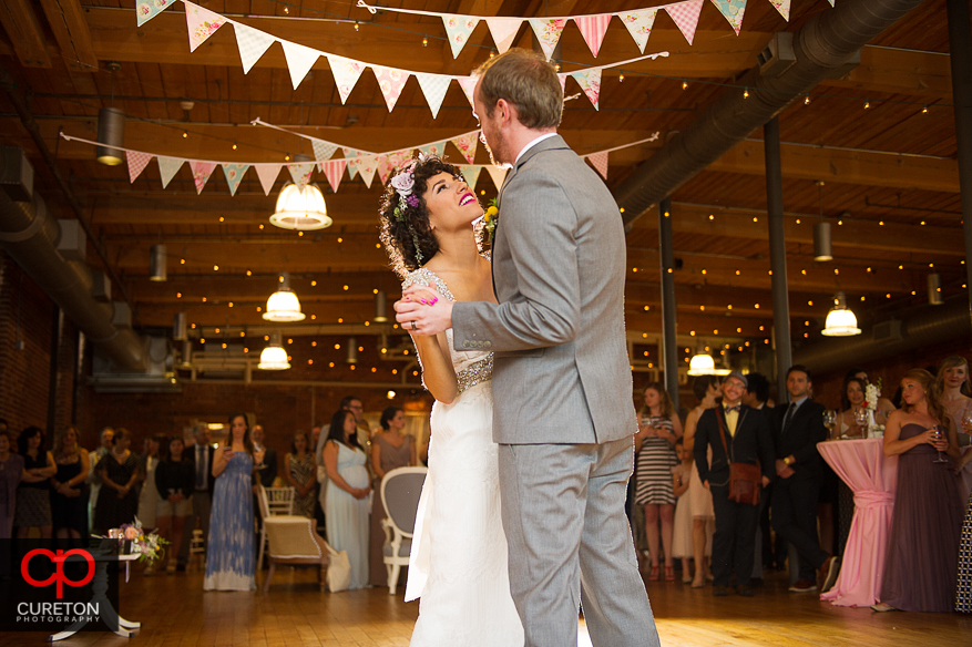 Couple dancing their first dance.