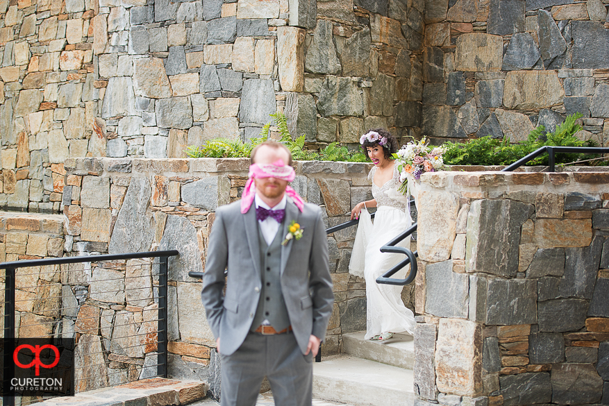 Bride and groom have first look in downtown Greenville,SC.