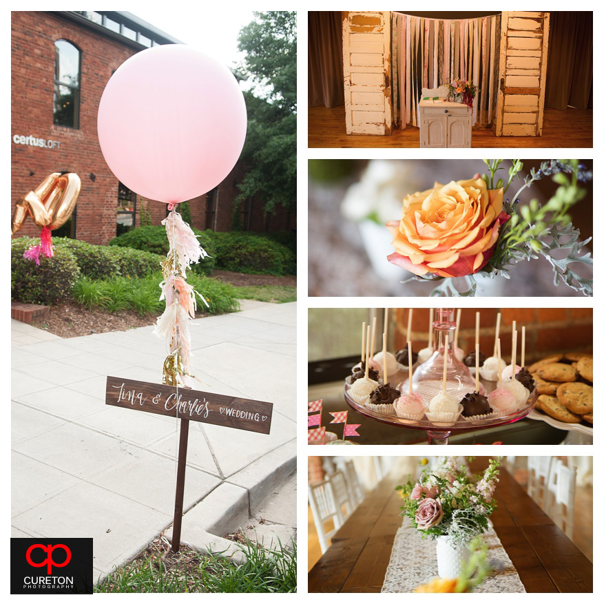 Vintage styled details and decor at a downtown Greenville,SC wedding.