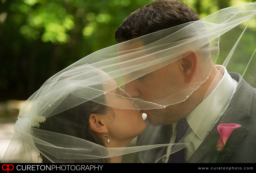 Bride and Groom kissing through veil.