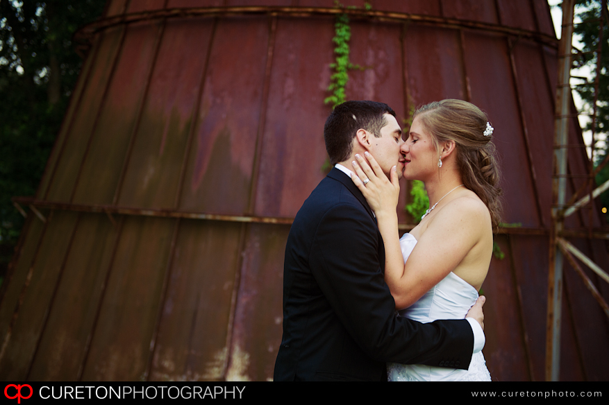 Bride and Groom before wedding reception at Larkin's Sawmill Greenville,SC.