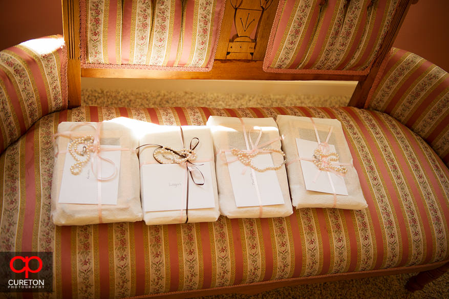 Bridal gifts on a sofa.