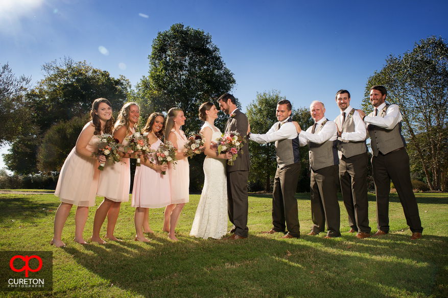 Entire bridal party at Lenora's Legacy for a wedding.