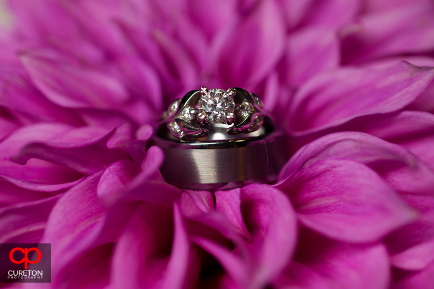Wedding rings in the middle of a pink flower.