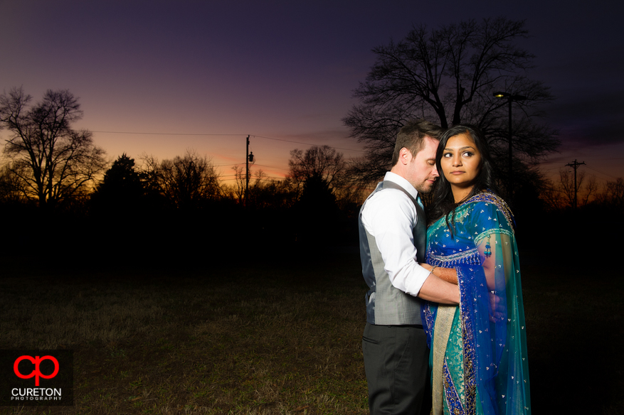 Couple at sunset before their reception at The Loom in Simpsonville,SC.