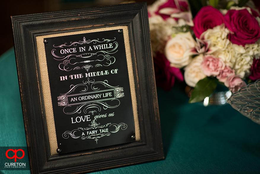 Wedding sign details.