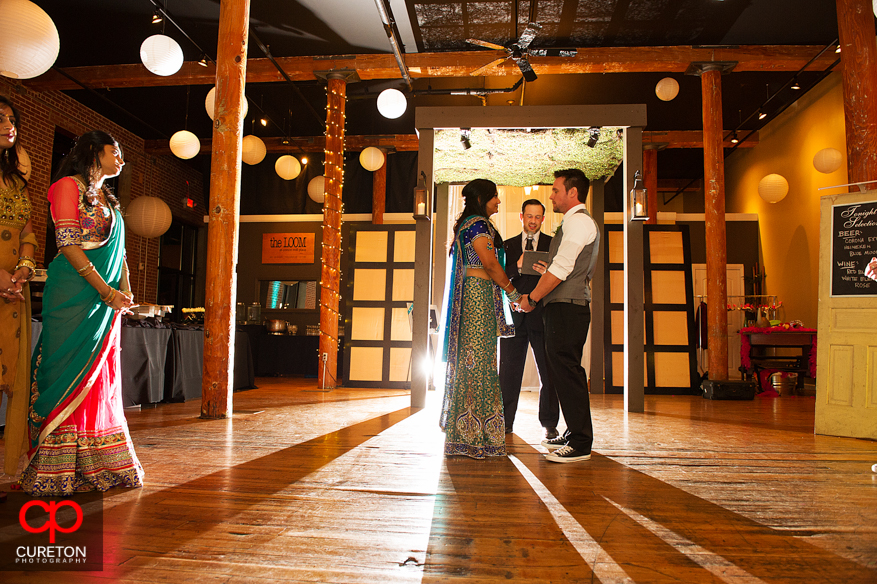 Bride and Groom during wedding ceremony at The Loom.