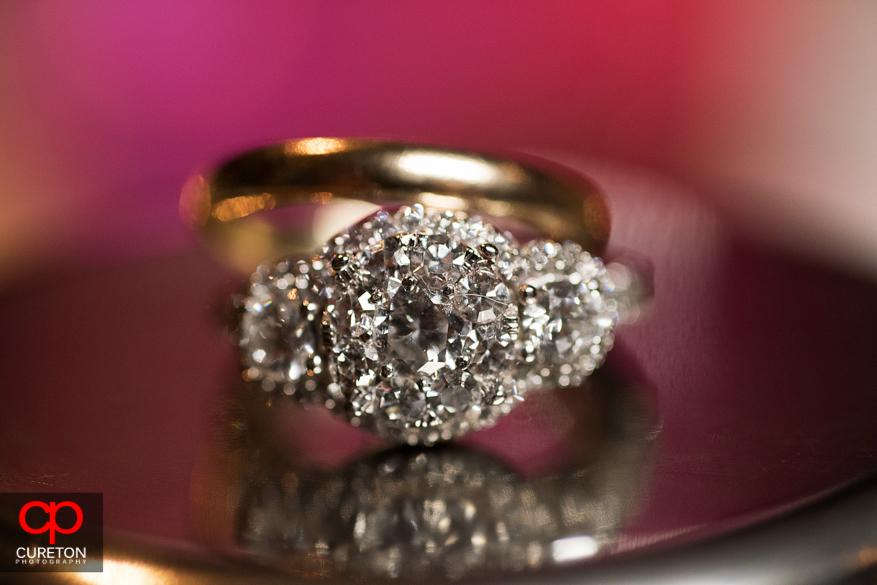 Closeup of the bride's wedding ring.