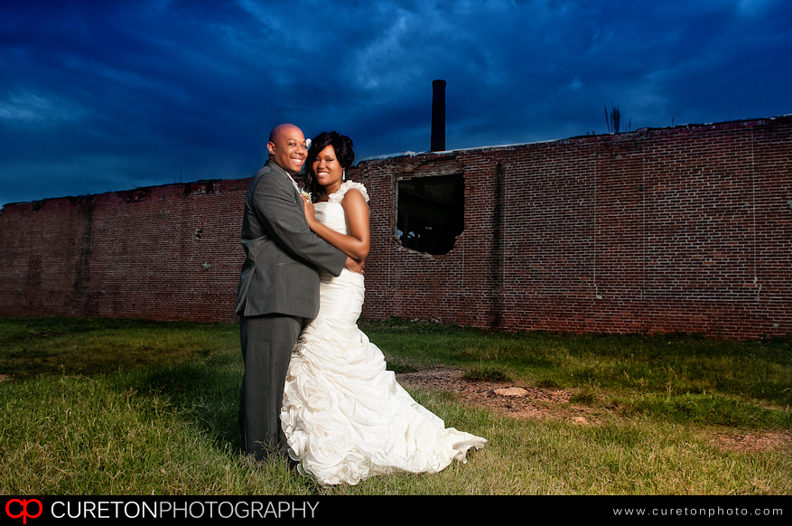 Bride and Groom outside The Loom in Simpsonville,SC.