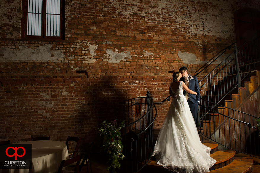 Bride and groom at the Old Cigar Warehouse in downtown Greenville,SC.