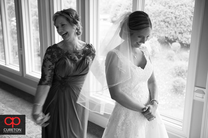 Bride getting ready for her Glassy Chapel wedding.