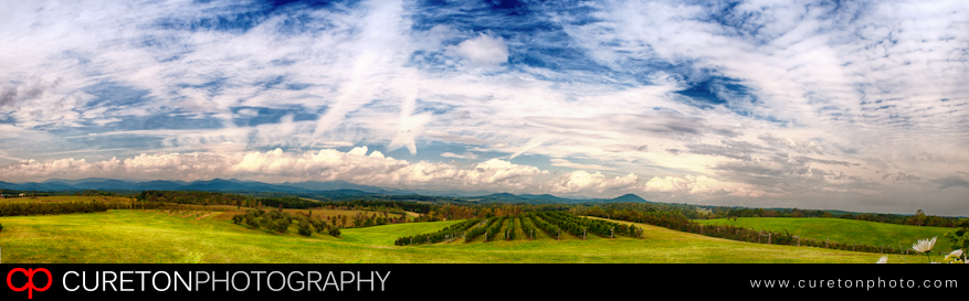 Panorama of the view at Chattooga Belle Farm.