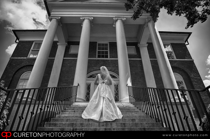 Bride on steps of the Robert Mills House in Columbia.