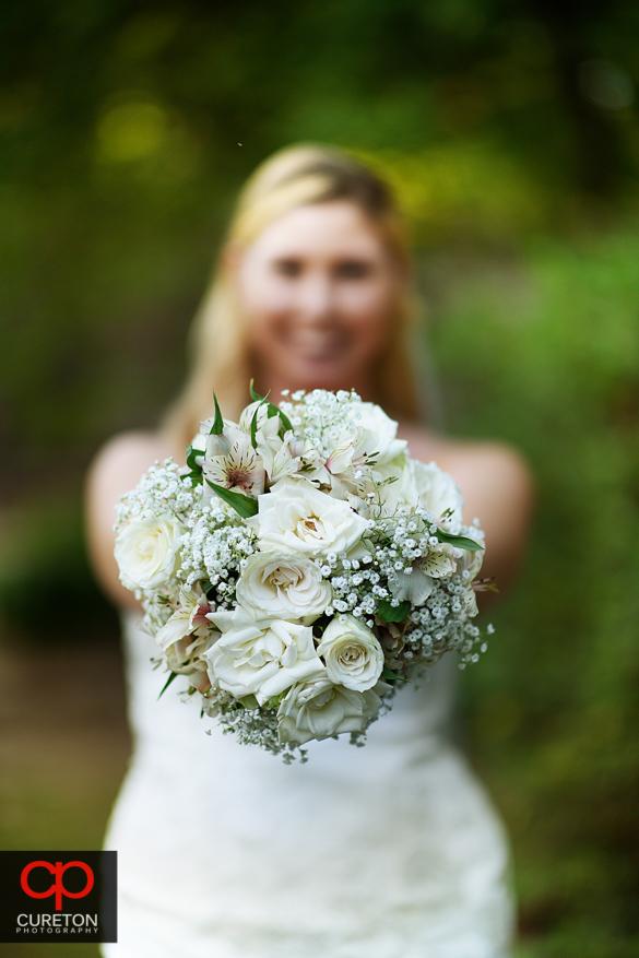 Closeup of a bridal bouquet .