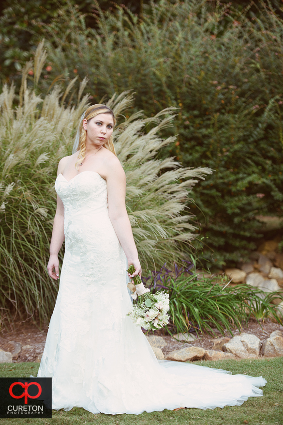 Bride standing in front of pampers grass.