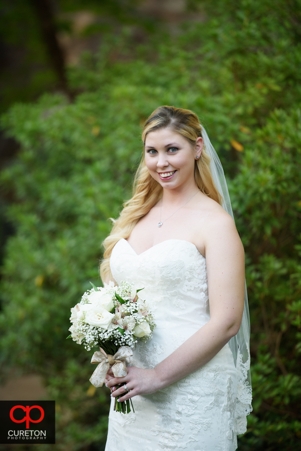 Bride at the Rock Quarry Garden in Greenville.