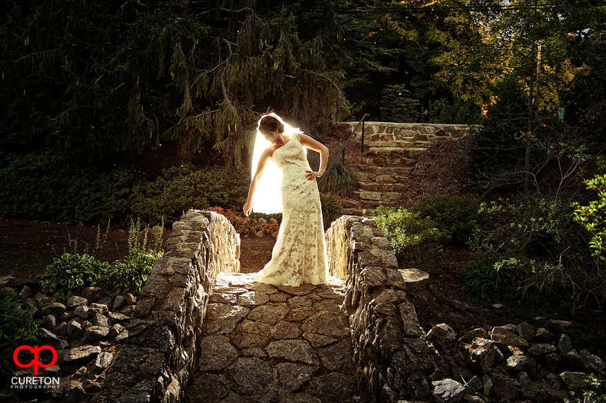 Bride standing on a stone bridge at the Rock Quarry Garden in Greenville,SC.